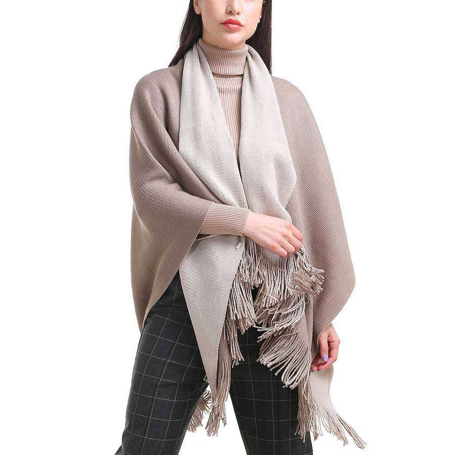 2 In 1 Shawl With Scarf,Outerwear,Mad Style, by Mad Style