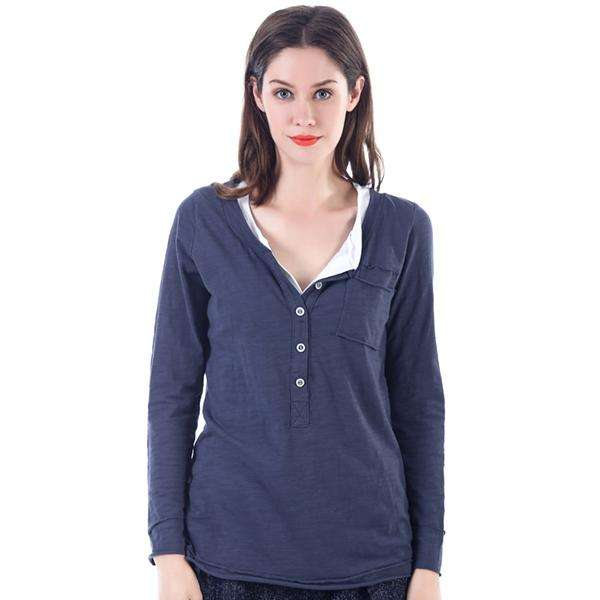 2 Piece Henley Long Sleeve Shirt,Tops,Mad Style, by Mad Style
