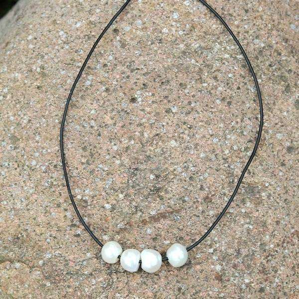 4 Pearl Bar Choker Necklace