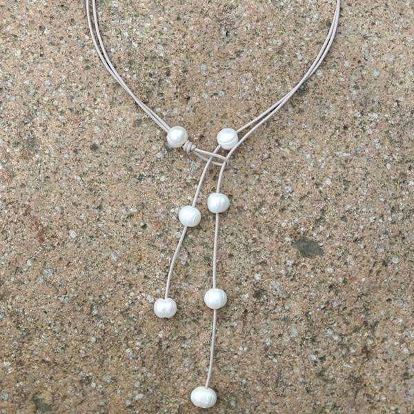 Adjustable Leather & Pearl Lariat Necklace
