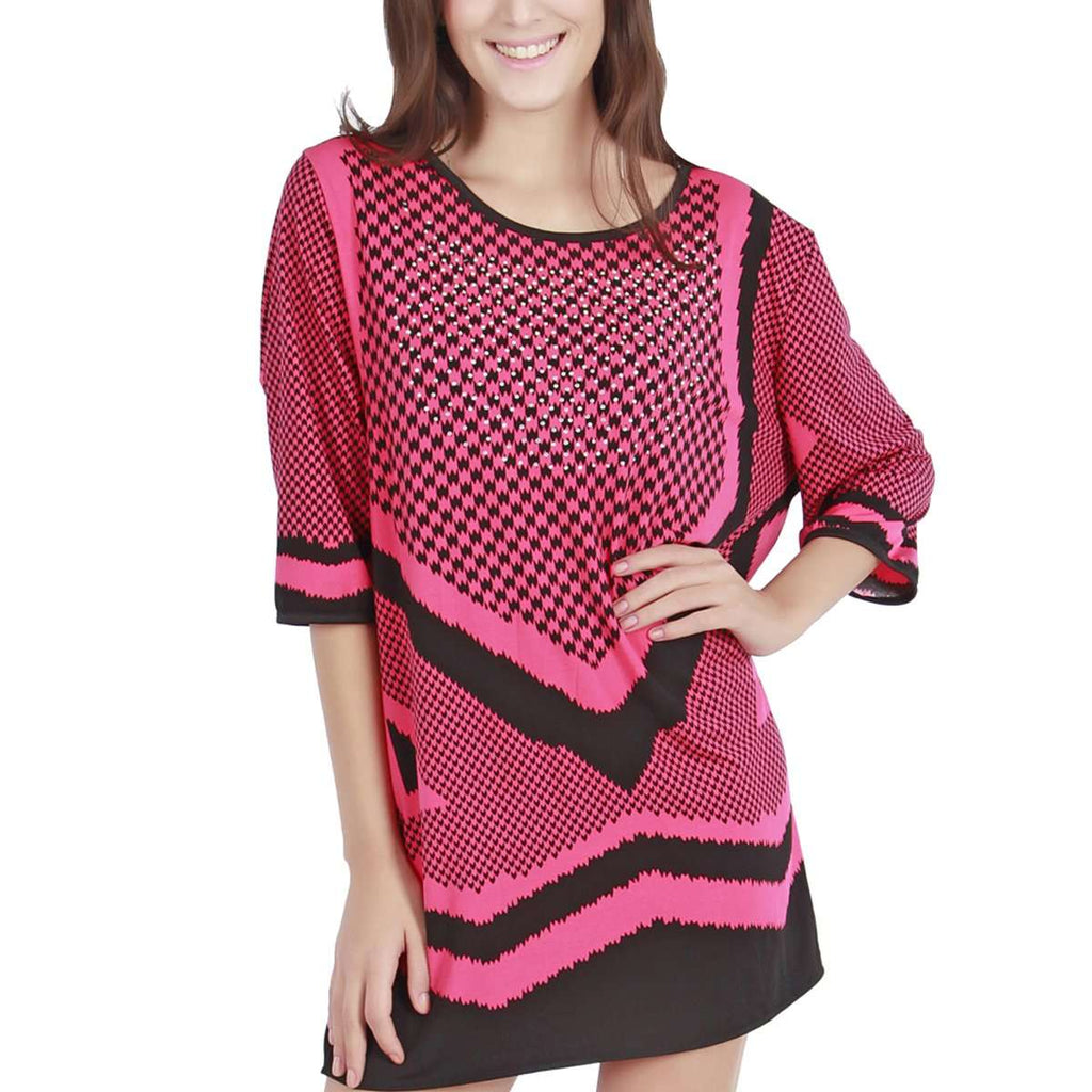 Angled Hem Geo Tunic Dress