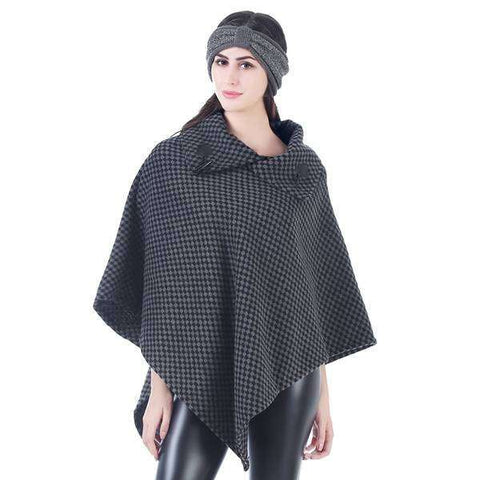 Ava Checked Pullover Poncho