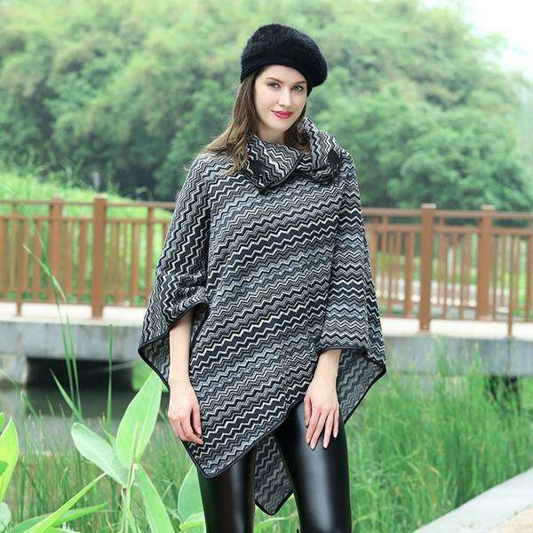 Ava Checked Pullover Poncho,Outerwear,Mad Style, by Mad Style