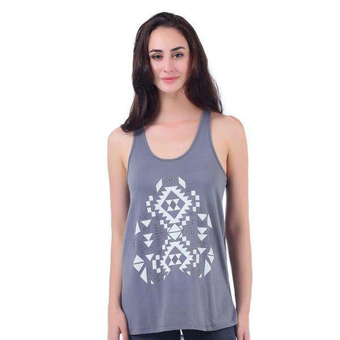 Aztec Tank Top Sheer Inset