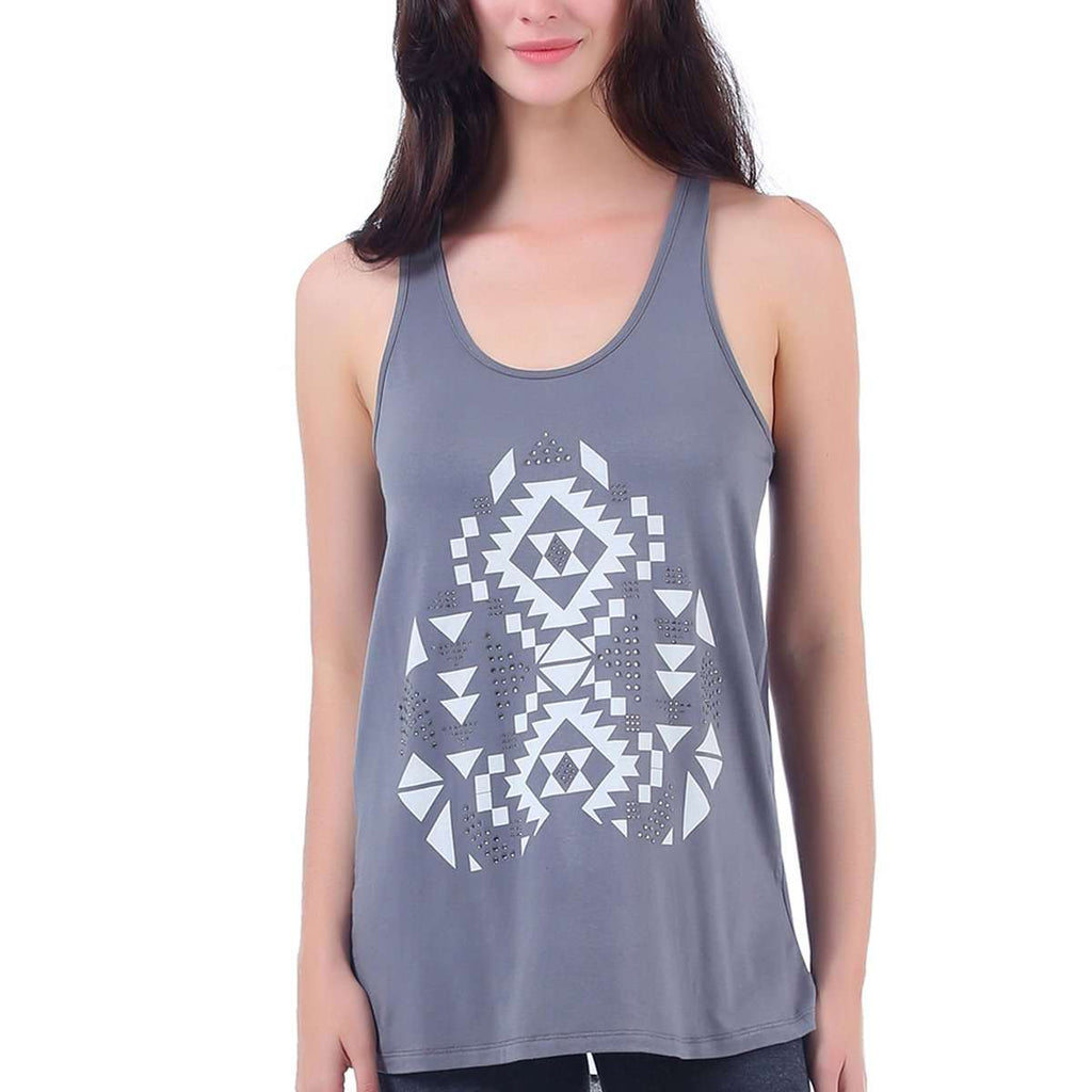 Aztec Tank Top Sheer Inset,Tops,Mad Style, by Mad Style