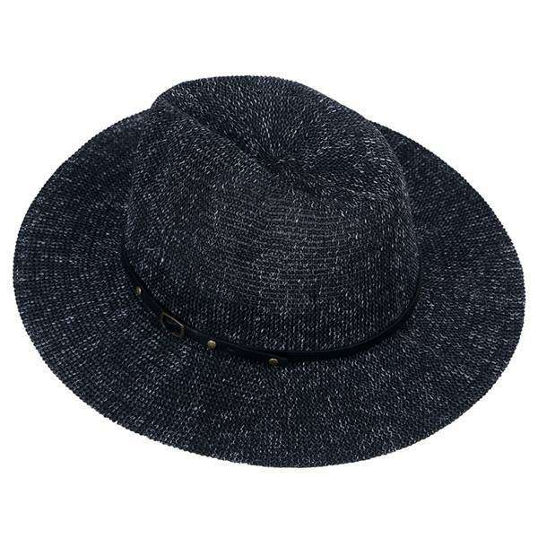 Banded Straw Fedora Hat