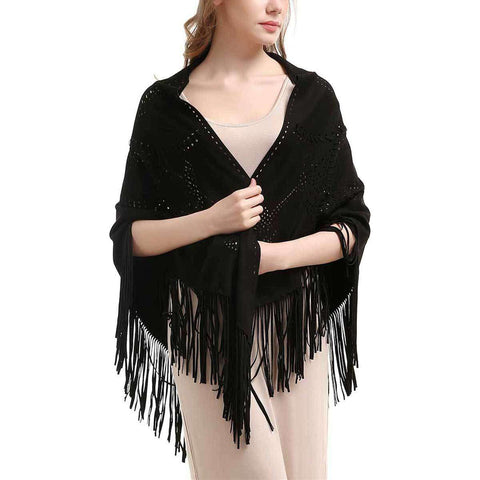 Black Laser Cut Fringe Faux Suede Wrap