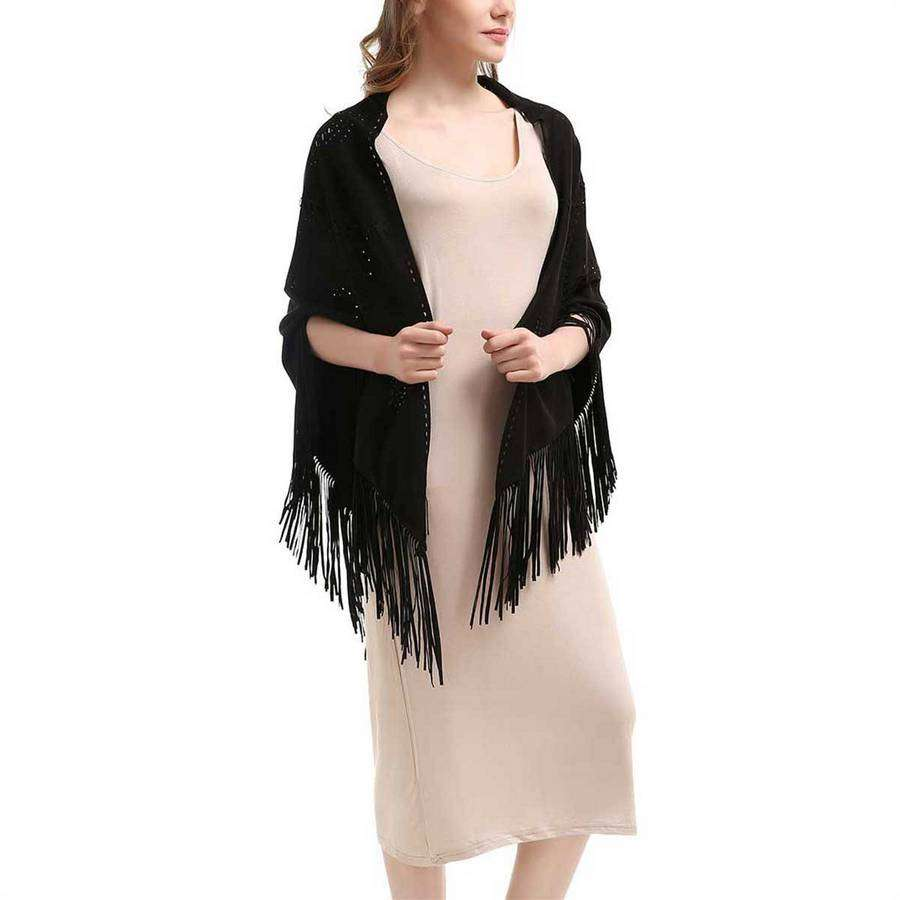 Black Laser Cut Fringe Faux Suede Wrap,Outerwear,Mad Style, by Mad Style
