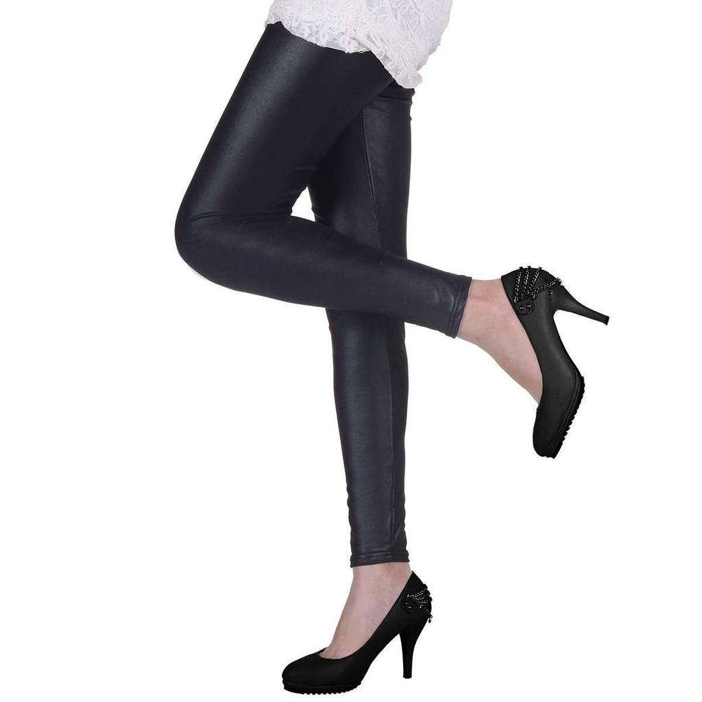 Black Leather Look Leggings,Bottoms,Mad Style, by Mad Style