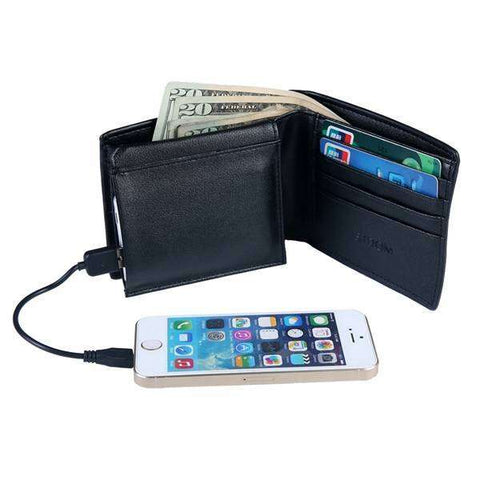 Black Mad Man Wallet With Built In Charger