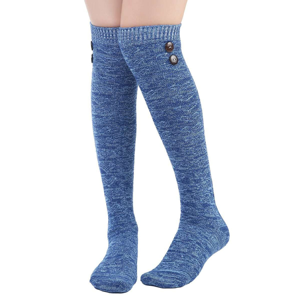 Blended Button Knit Over the Knee Sock