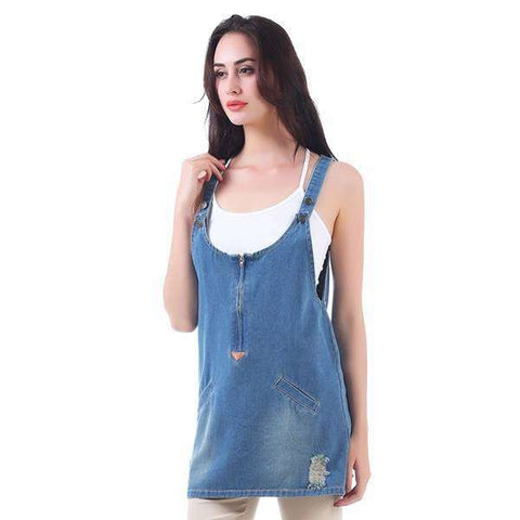 Blouse Washed Denim Overall Top