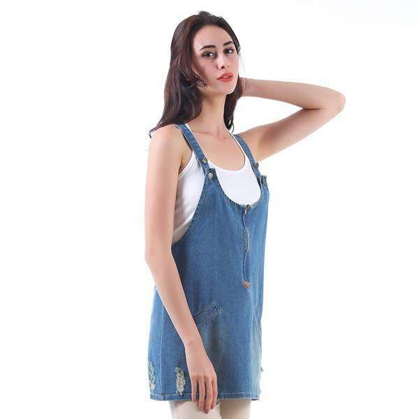 Blouse Washed Denim Overall Top,Tops,Mad Style, by Mad Style