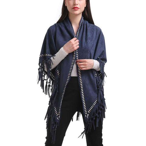 Blue Braided Trim Faux Suede Fringe Wrap