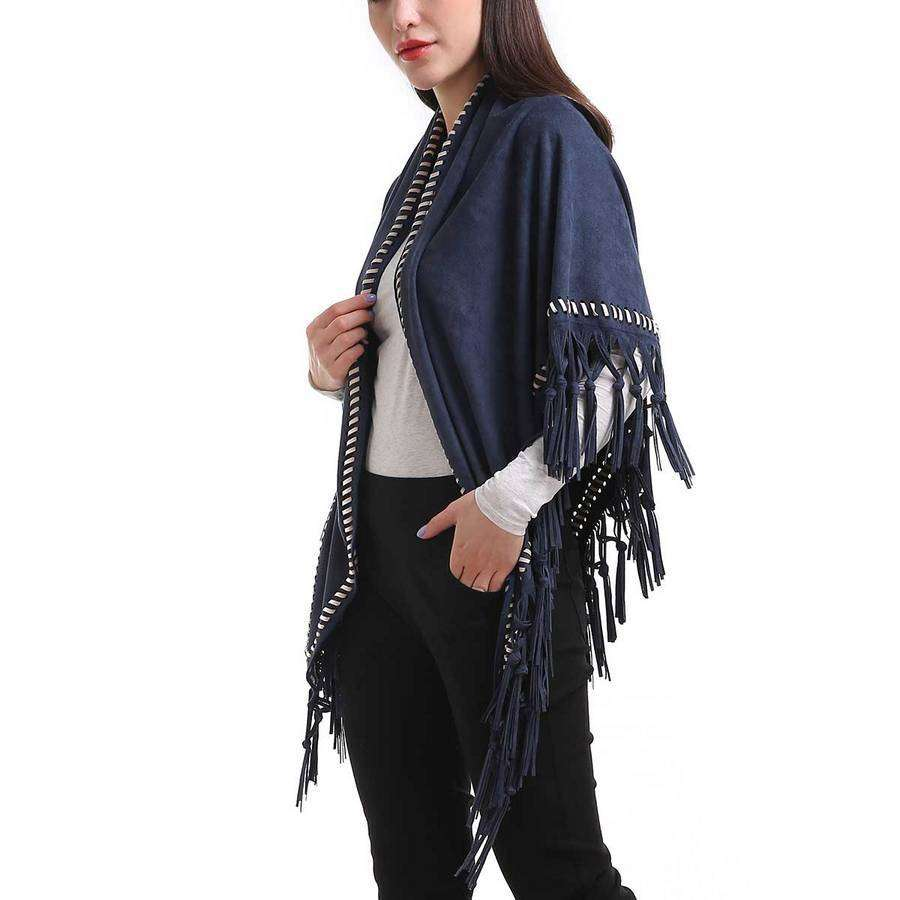 Blue Braided Trim Faux Suede Fringe Wrap,Outerwear,Mad Style, by Mad Style