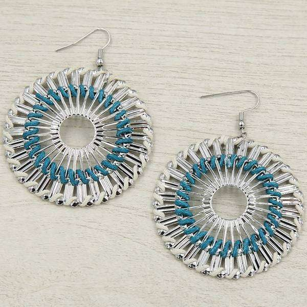 Blue Round Spiro Earring,Earrings,Elly, by Mad Style