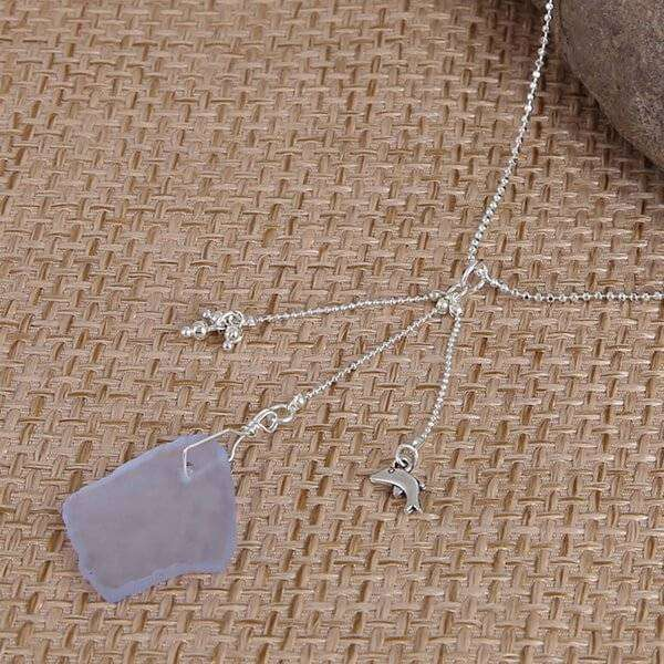 Blue Sea Glass With Dolphin Charm Necklace,Necklaces,Elly, by Mad Style