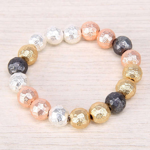 Blurred Metals Beaded Stretch Bracelet