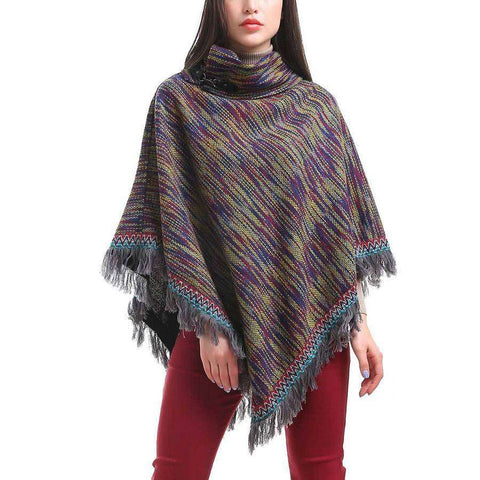 Blurred Stripe Poncho