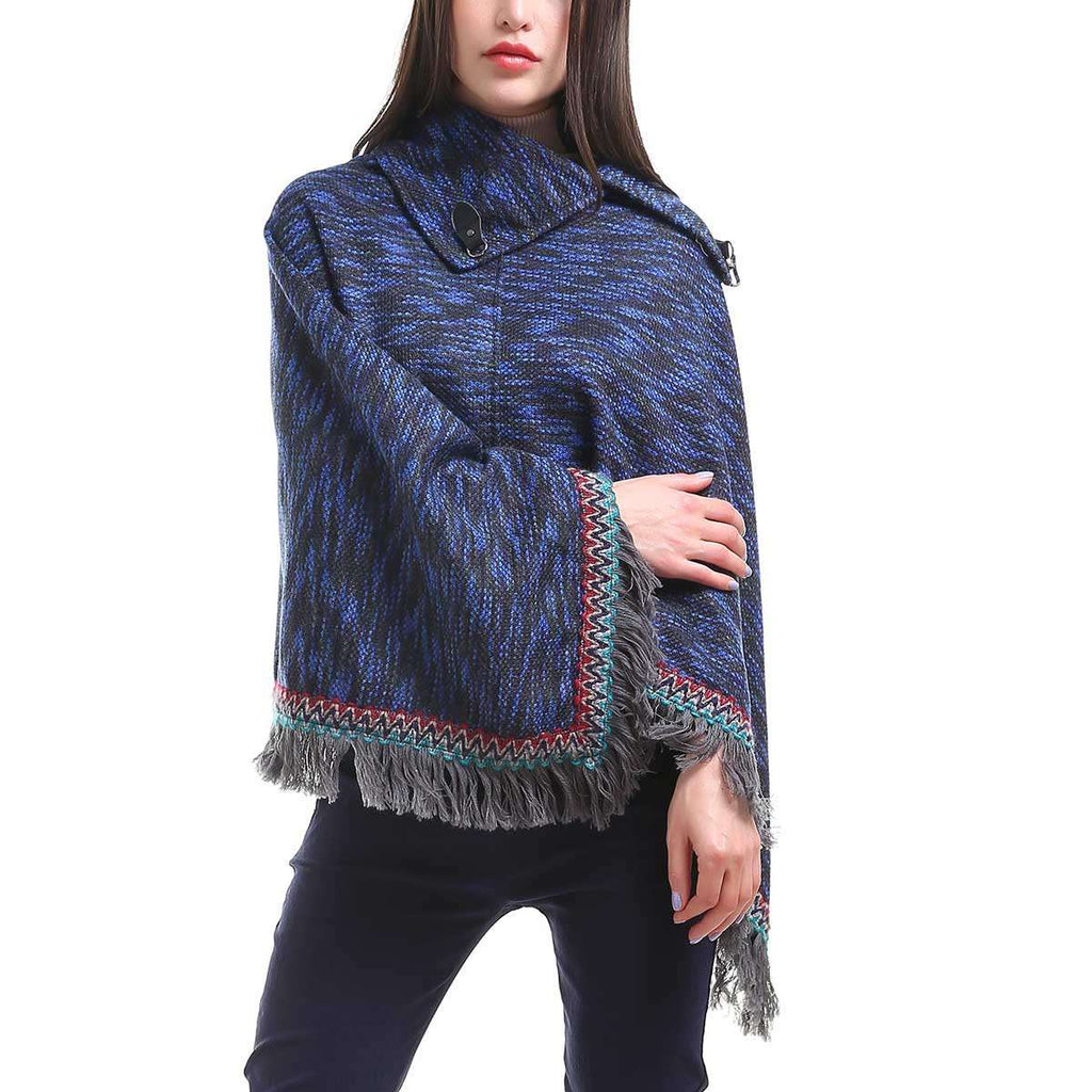 Blurred Stripe Poncho,Outerwear,Mad Style, by Mad Style
