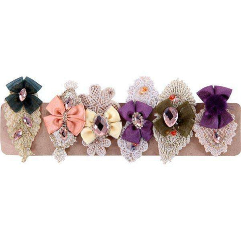 Bow Lace Hair Brooch 6 pack