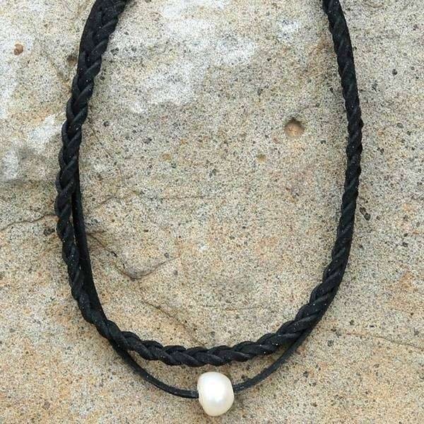 Braided Pearl Choker Necklace