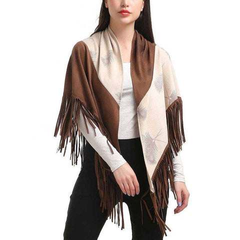 Brown | White Two Tone Faux Suede Fringe Wrap