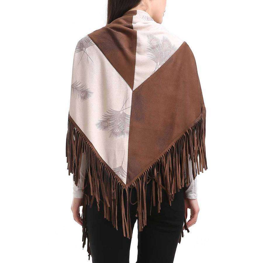 Brown | White Two Tone Faux Suede Fringe Wrap,Outerwear,Mad Style, by Mad Style