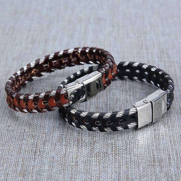 Cable And Leather Bracelet,Jewelry,Mad Man, by Mad Style
