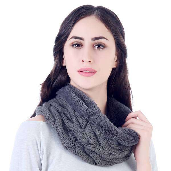 Cable Knit Shearling Infinity Scarf,Heavy Scarves,Mad Style, by Mad Style