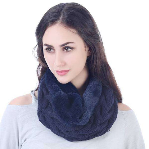 Cable Knit Shearling Infinity Scarf