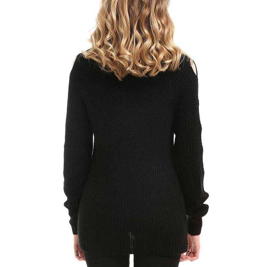 Cold Shoulder Open Sleeve Sweater,Outerwear,Mad Style, by Mad Style