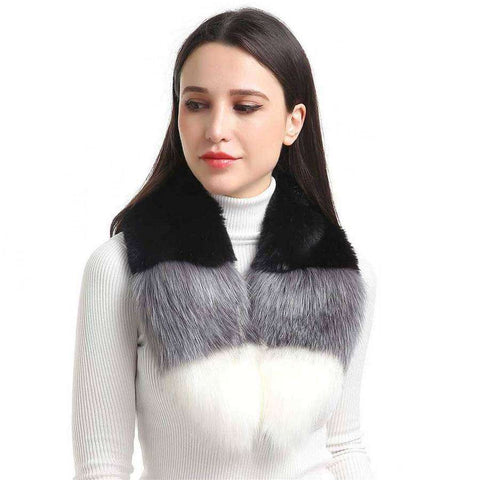 Color Block Faux Fur Collar