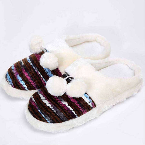 Colorful Cozy Knit Slippers (Brown)