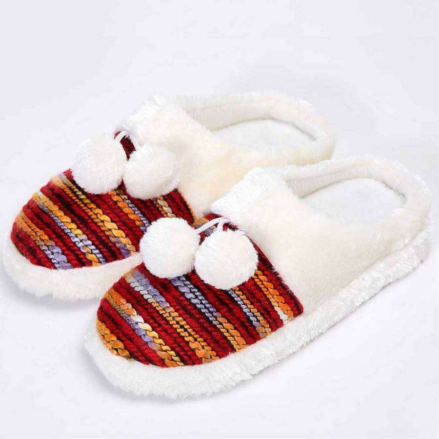 Colorful Cozy Knit Slippers (Orange),Footwear,Mad Style, by Mad Style