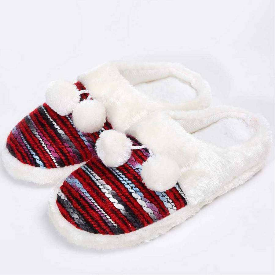 Colorful Cozy Knit Slippers (Red),Footwear,Mad Style, by Mad Style