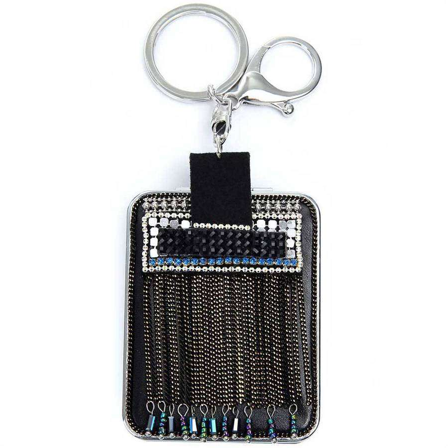 Compact Mirror Glitzy Keychain,Key Chains and Fobs,Elly, by Mad Style