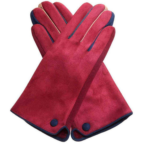 Contrast Faux Suede Texting Gloves