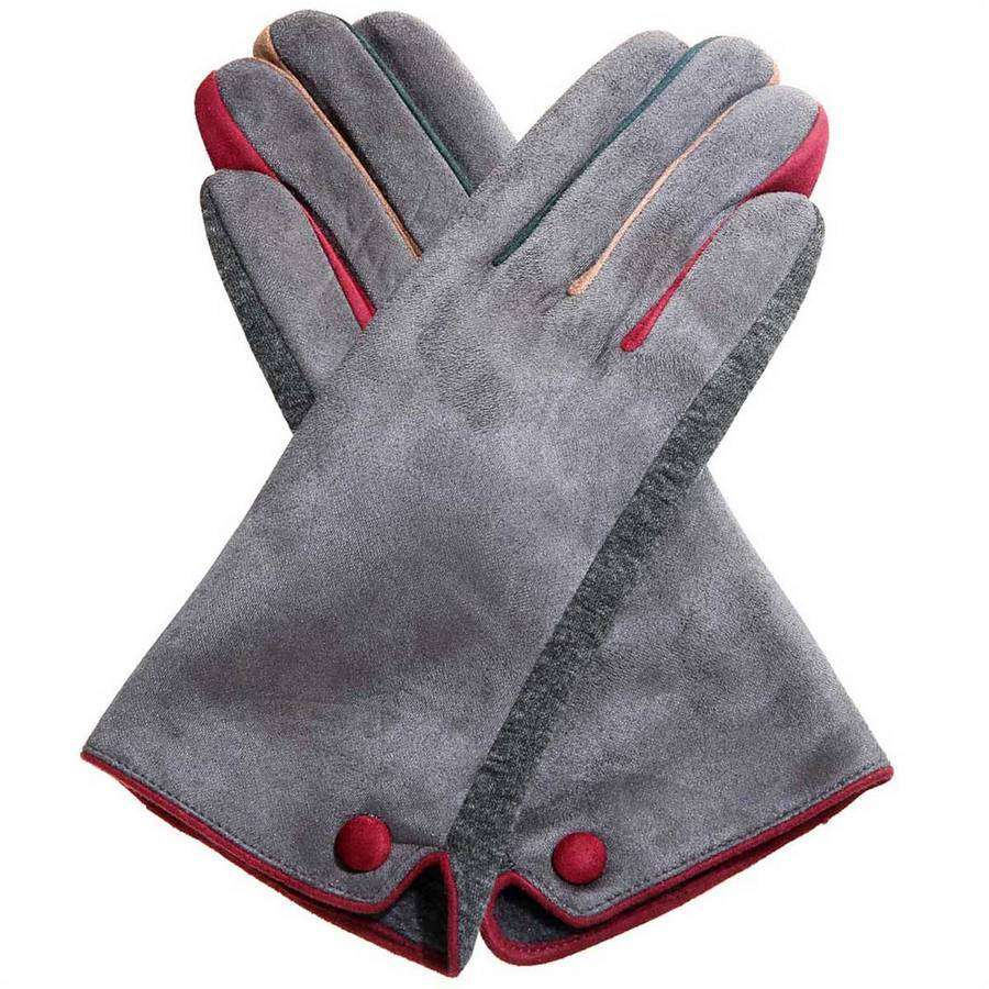 Contrast Faux Suede Texting Gloves,Winter Accessories,Mad Style, by Mad Style