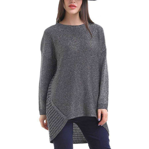 Crew Neck Shimmer Sweater Shark Bite Hem