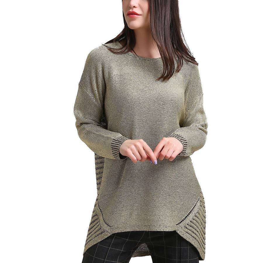 Crew Neck Shimmer Sweater Shark Bite Hem,Outerwear,Mad Style, by Mad Style