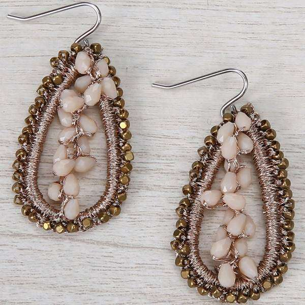 Crystal And Thread Tear Earrings,Earrings,Elly, by Mad Style