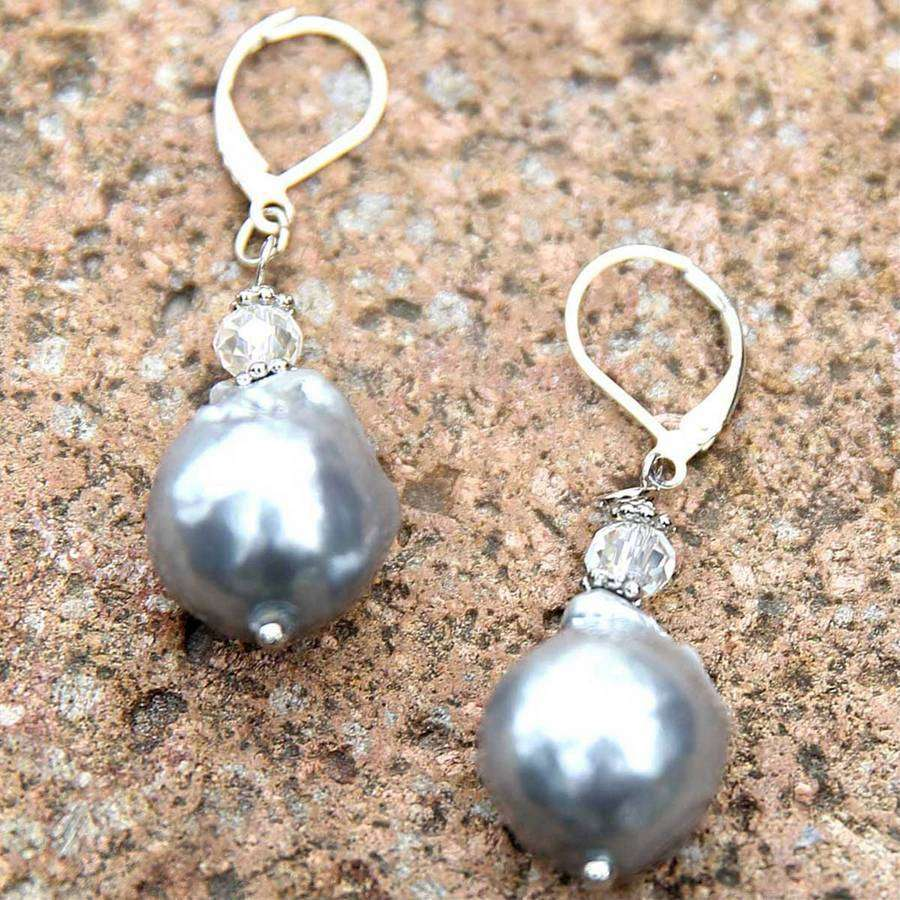 Dangle Suede & Pearl Earring,Earrings,Elly, by Mad Style