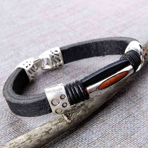 Denali Leather Mens Bracelet