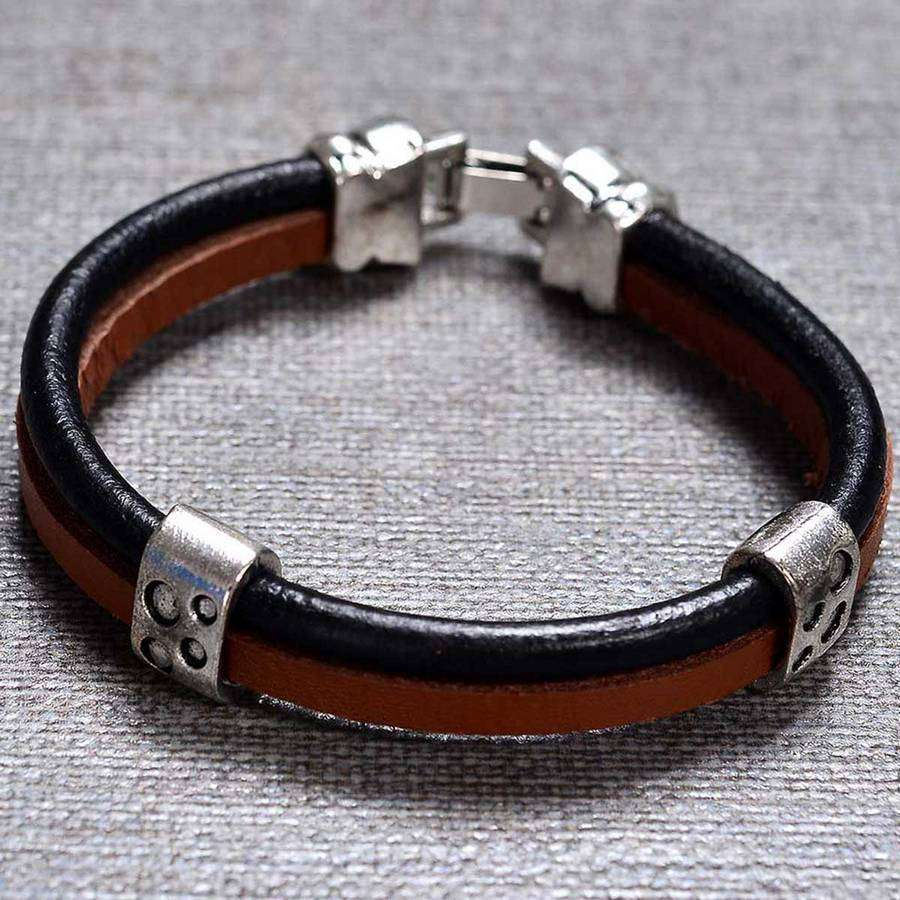 Denali Leather Mens Bracelet,Jewelry,Mad Man, by Mad Style