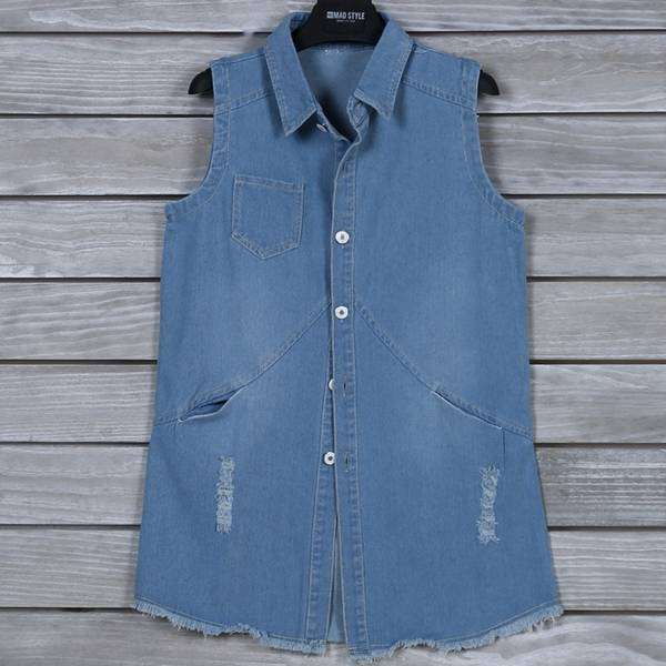 Denim Vest With Pockets,Tops,Mad Style, by Mad Style