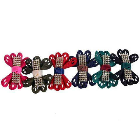 Diamante Hair Bow Clips 12 Piece