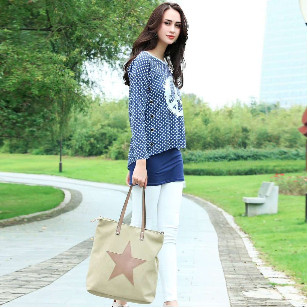 Distressed Canvas Star Bag,Totes,Mad Style, by Mad Style