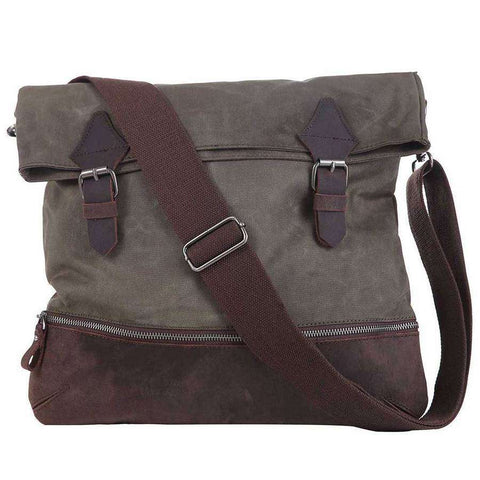 Distressed Leather And Canvas Courier