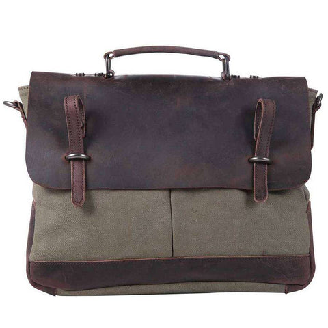 Distressed Leather And Canvas Messenger